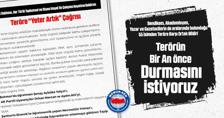 Sendikacı, Akademisyen, Yazar ve Gazetecilerin de aralarında bulunduğu 55 İsimden Teröre Karşı Ortak Bildiri